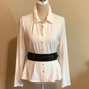 TOMMY HILFIGER stretch jersey white shirt Medium